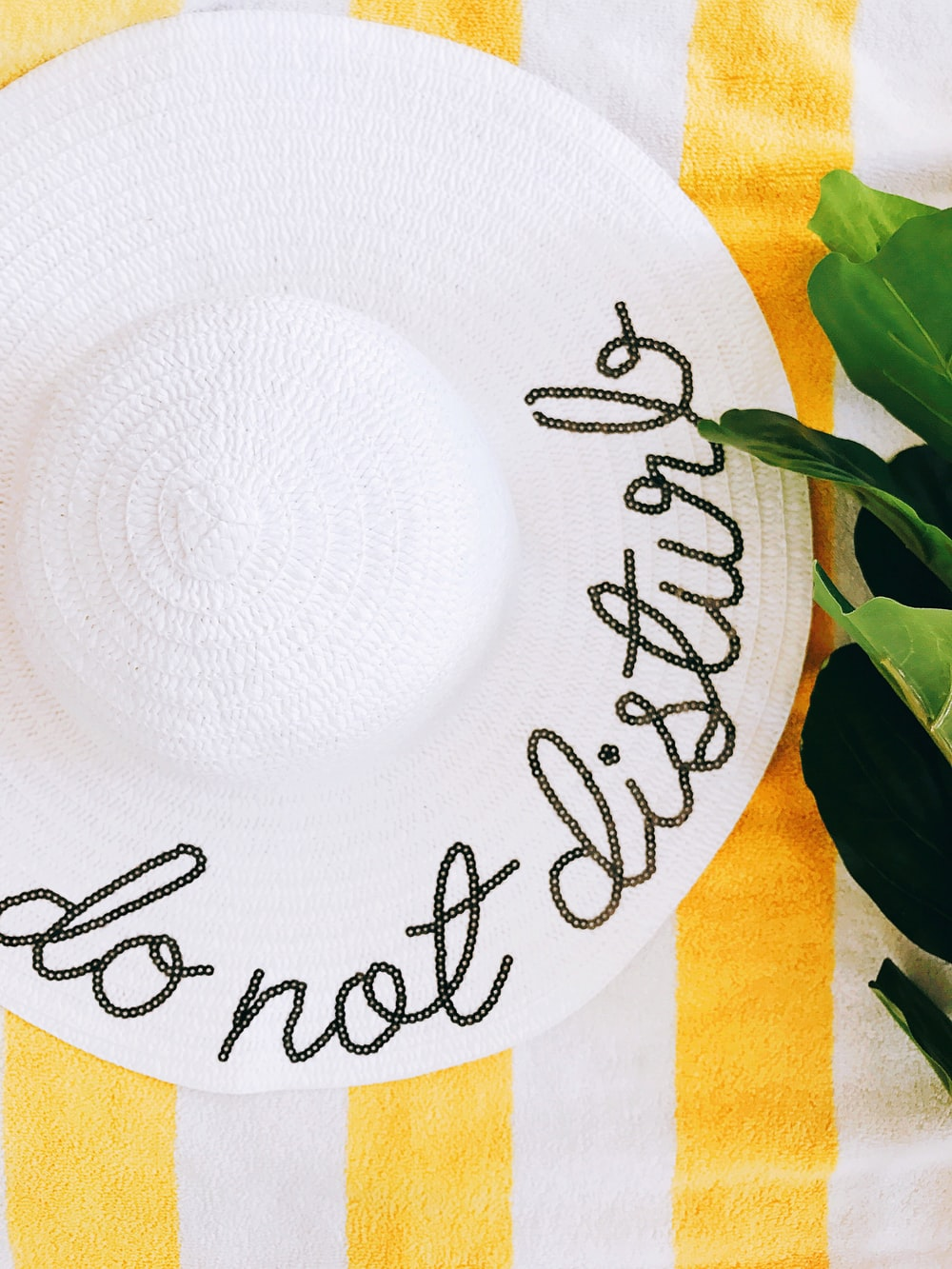white ceramic round plate on white and green textile