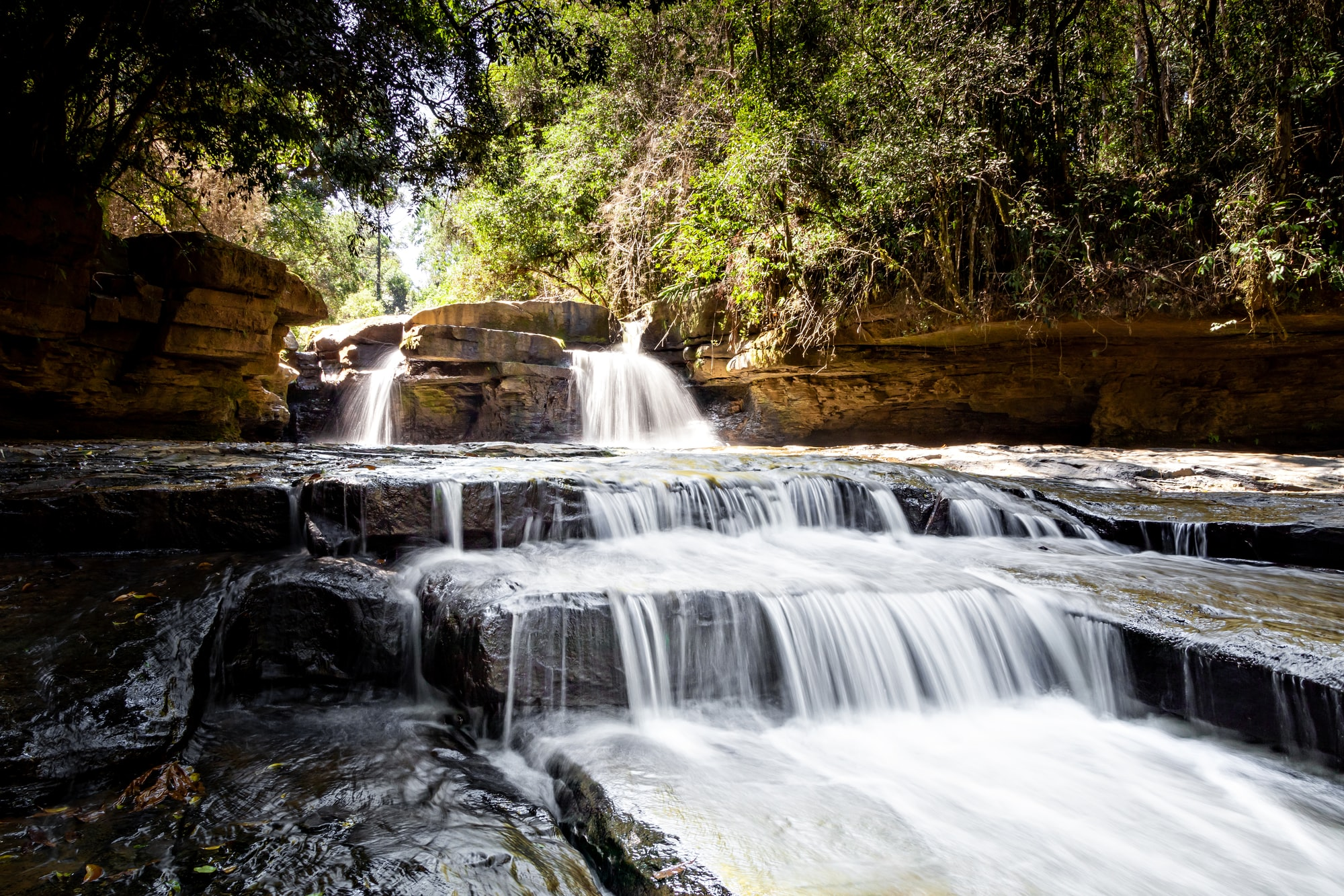 Twins Waterfall located in Ituporanga south Brazil. Just sit on the passing water and enjoy.