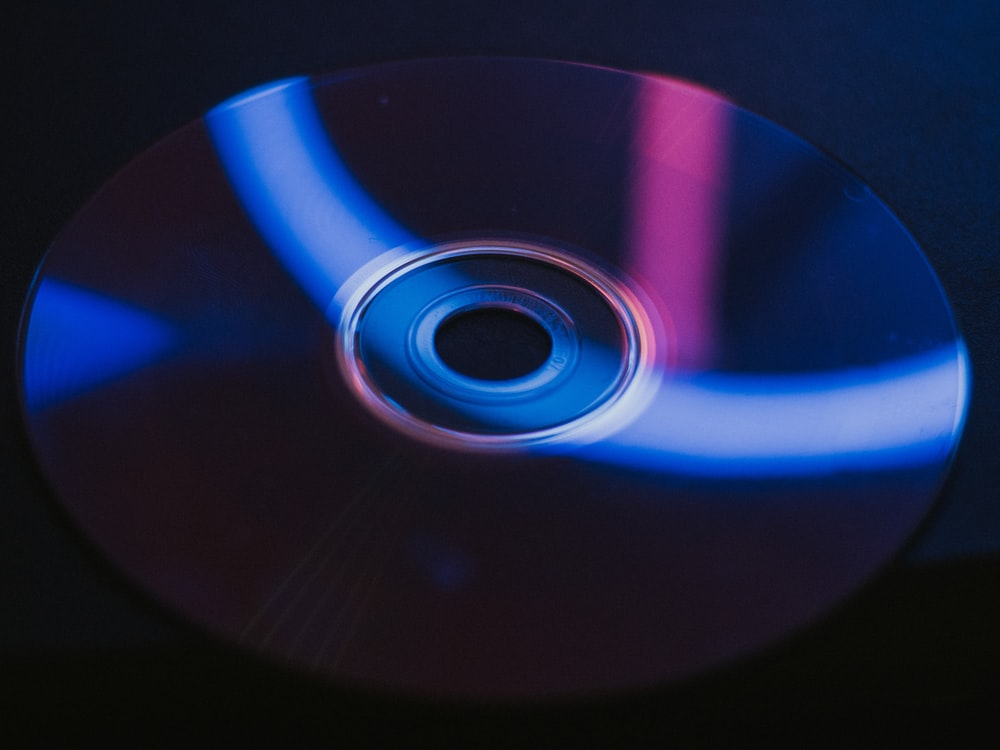blue and black compact disc