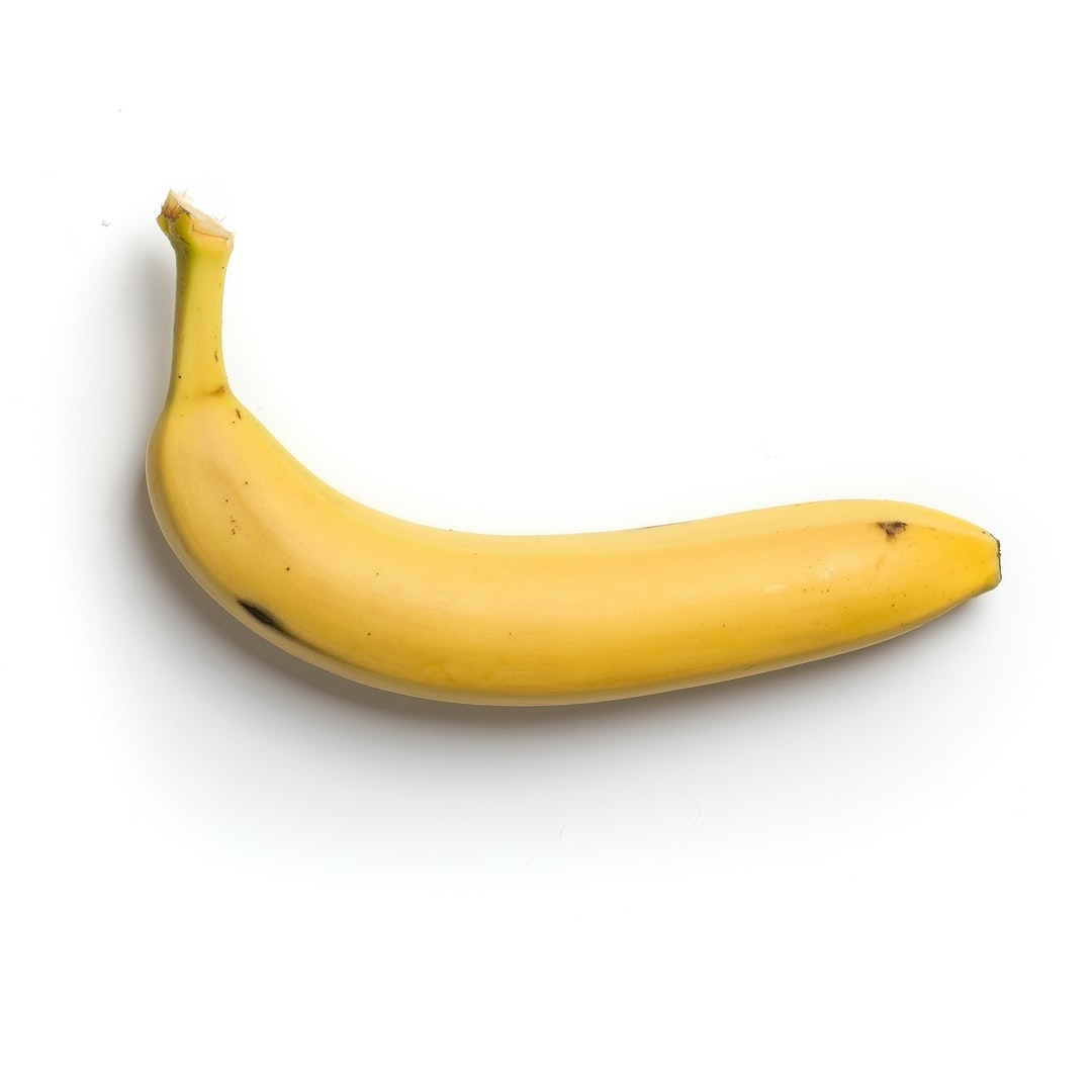 High-quality photo of a banana on a white background