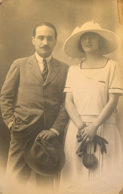 Old black and white woman and man portrait