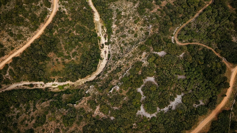 aerial view of brown and white land