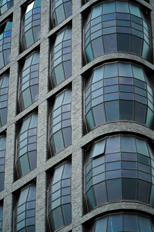 black framed glass window building