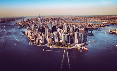 aerial view of city buildings during daytime new york city zoom background