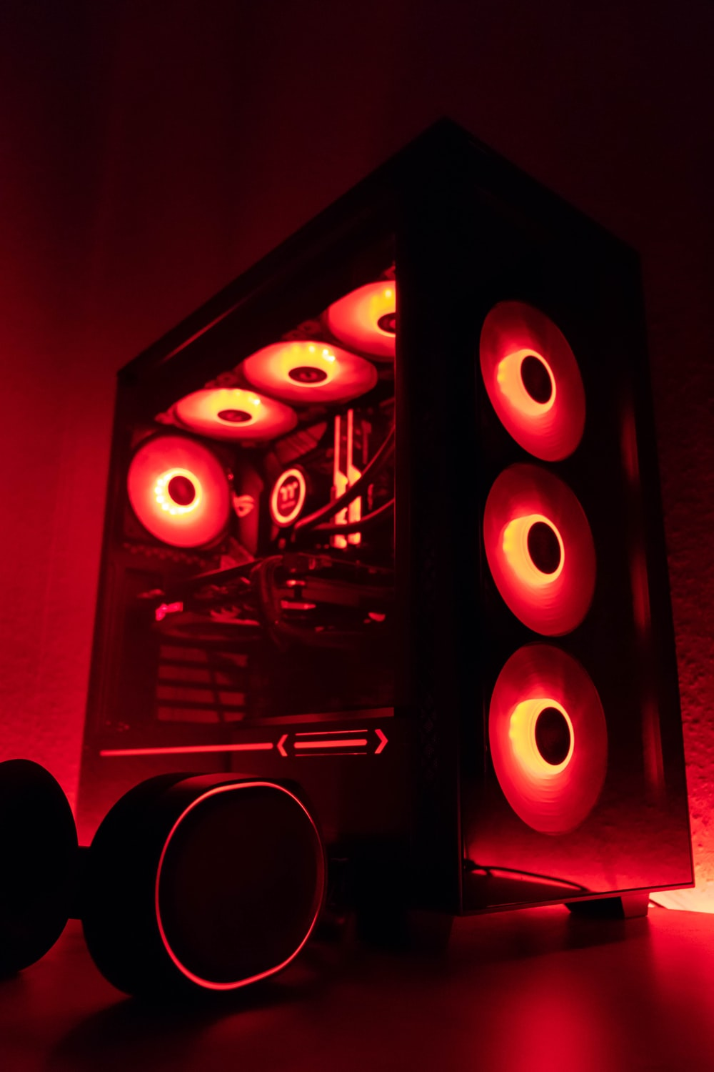 red and black lighted wall decor