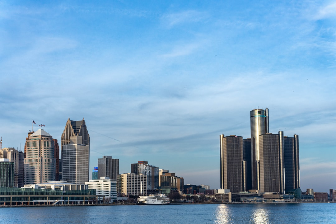 Detroit skyline including the GM Building from Windsor, ON.