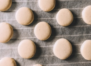 white round food on gray surface