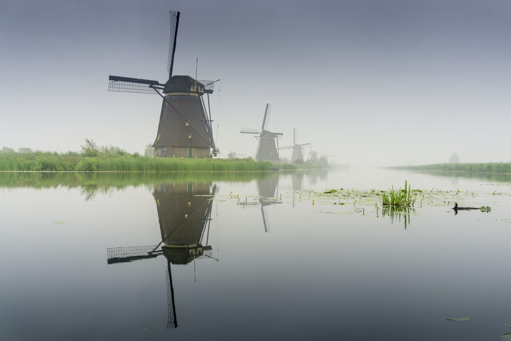 windmill near lake during foggy weather