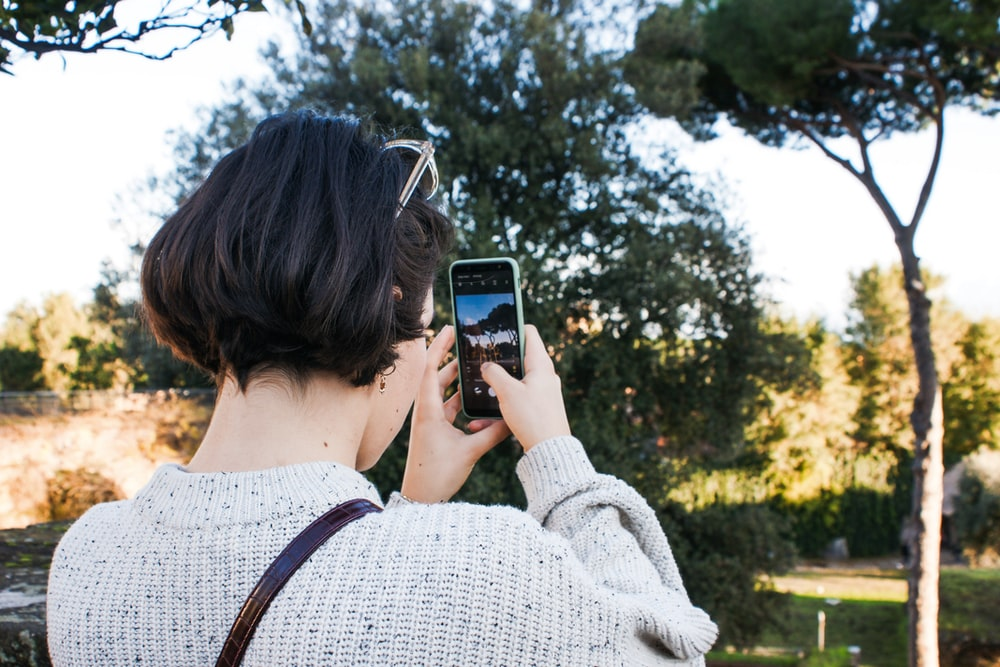woman in gray sweater taking photo of green trees during daytime