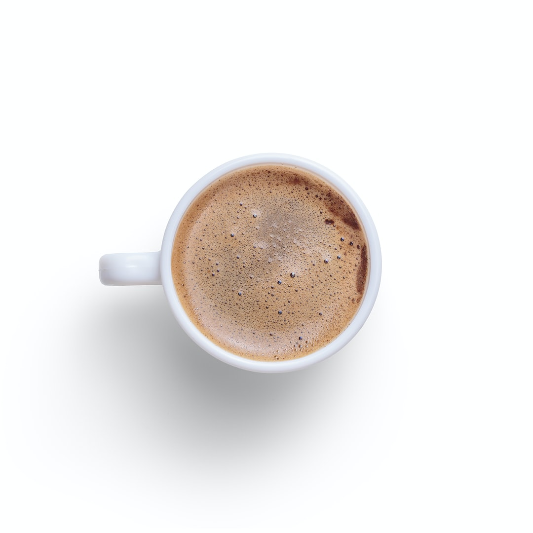 Quality photo of a cup of coffee on a white background