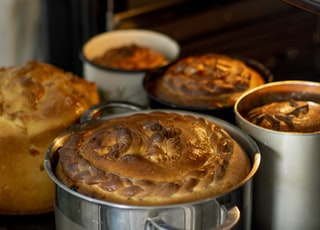 baked pie on stainless steel bowl