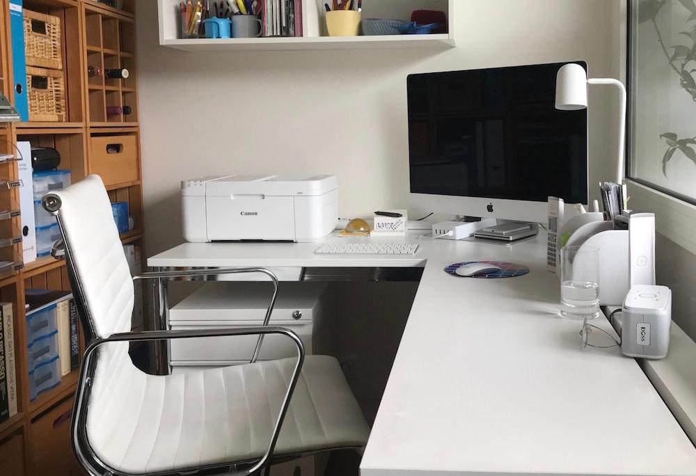 white printer on white table