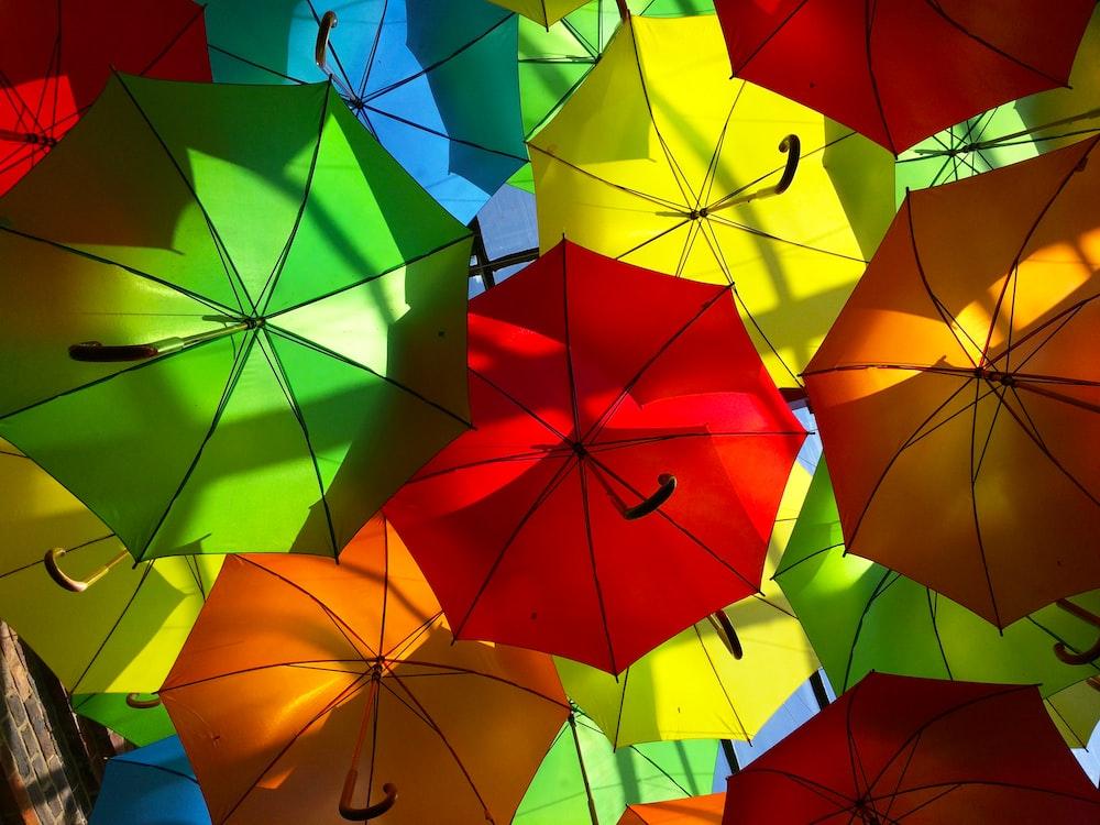 orange umbrella on blue glass