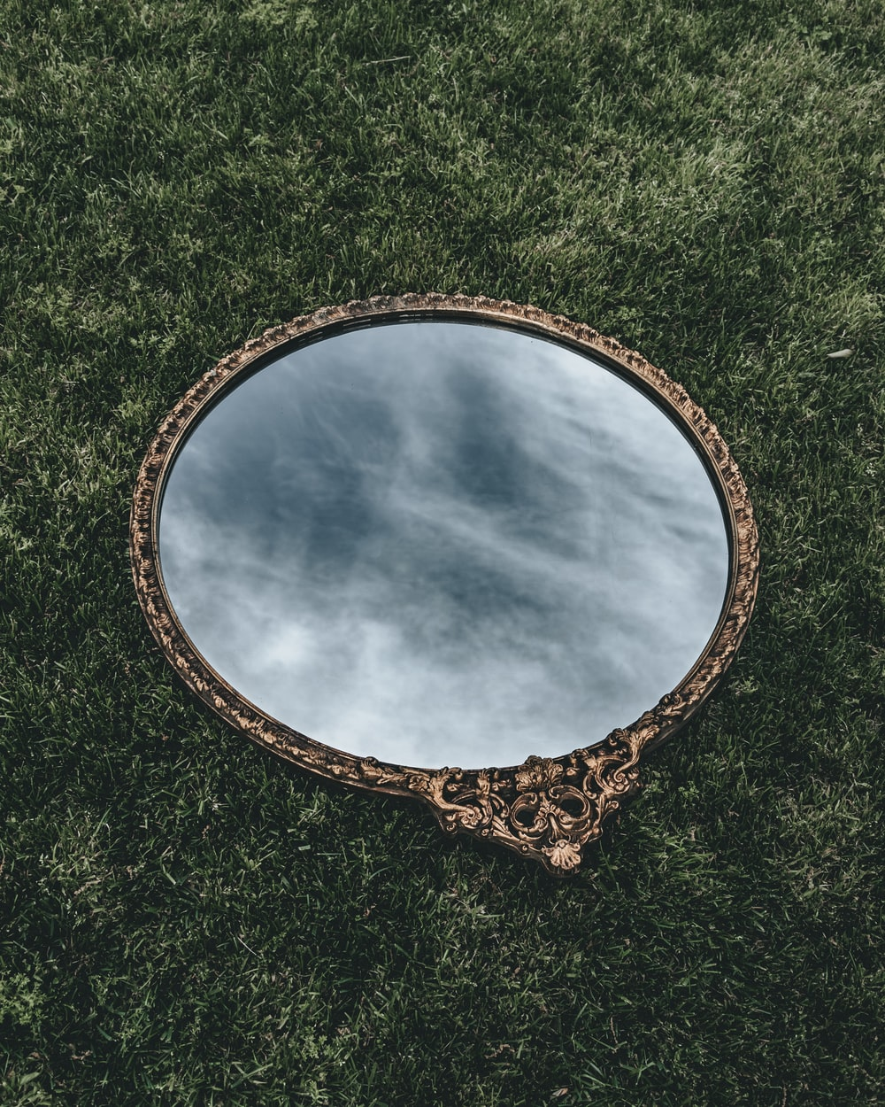 oval mirror with brown wooden frame on green grass