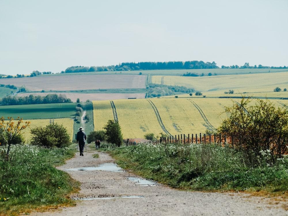 man in black jacket walking on gray pathway between green grass field during daytime