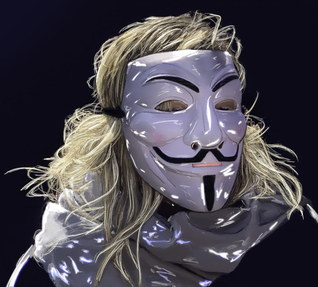woman in blue and white mask