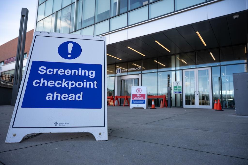 COVID-19 Screening Checkpoint at Chinook Regional Hospital in Lethbridge, Alberta