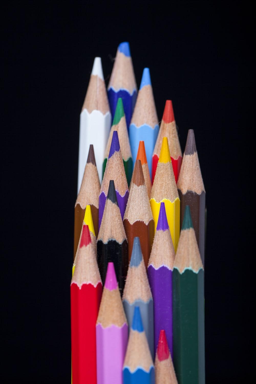 multi colored pencil on white background