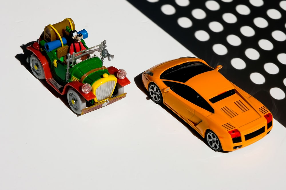 red and yellow car toy
