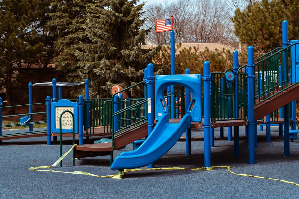 blue and yellow playground slide