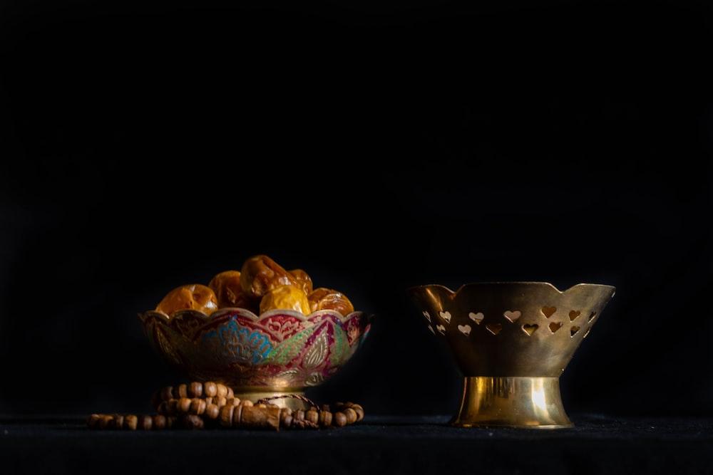 blue and gold ceramic bowl