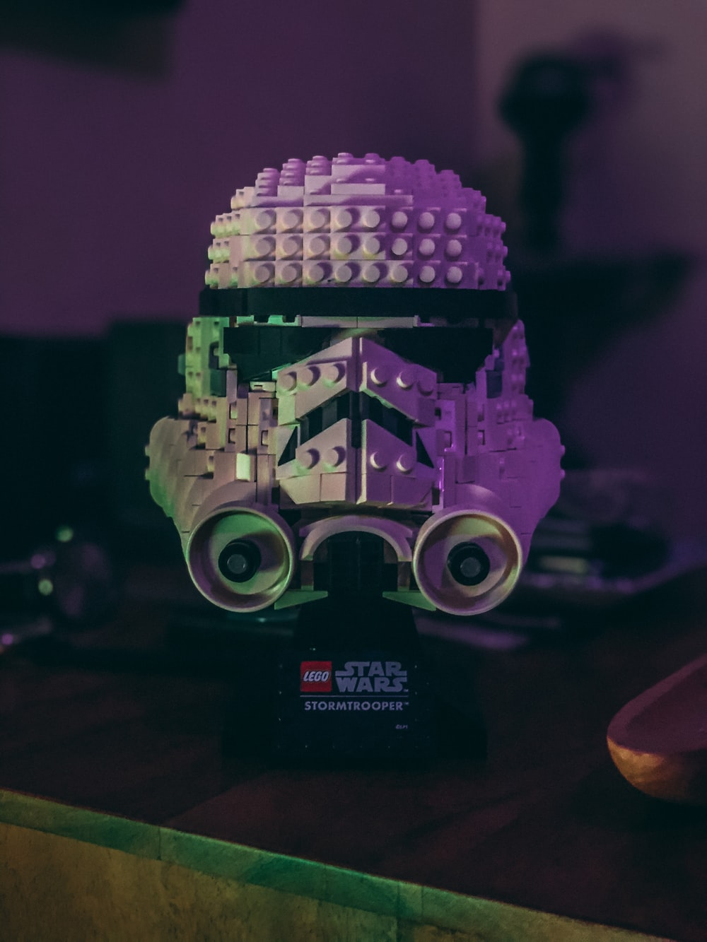 purple and white robot toy