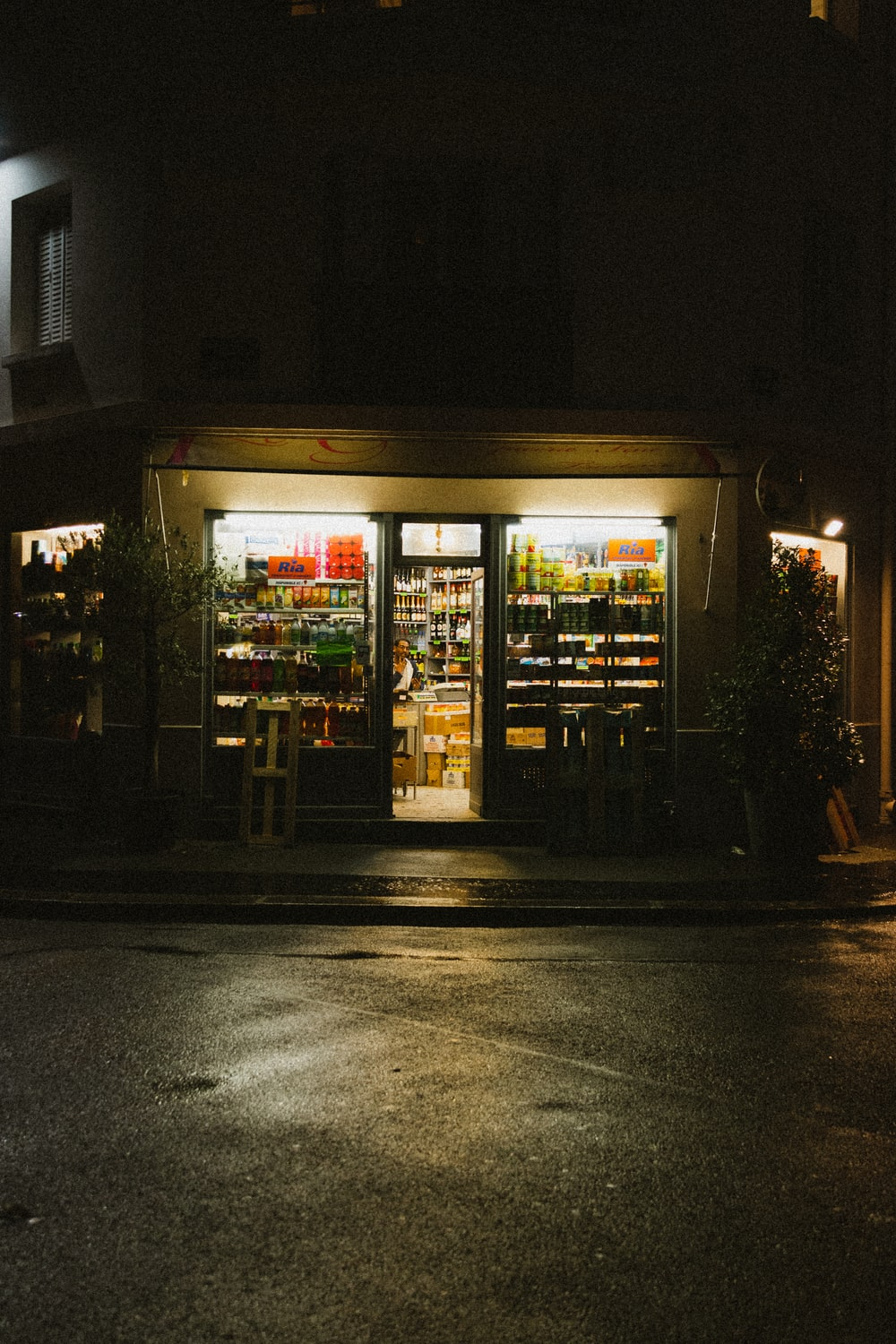 lighted store during night time
