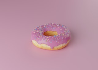 doughnut with pink icing on top