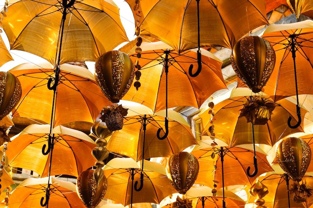 orange umbrellas with black and white birds