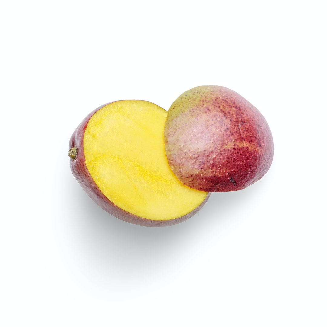 High-quality photo of a mango slice on a white background