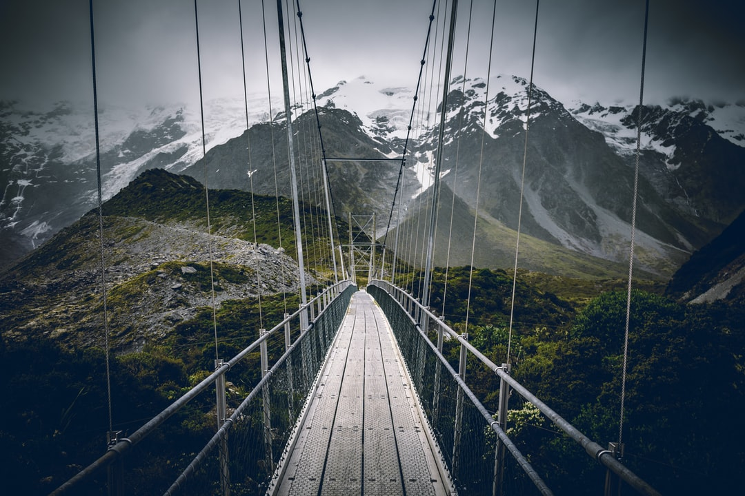 One of the swing bridges on the Hooker Valley Track, Aoraki/Mount Cook National Park.