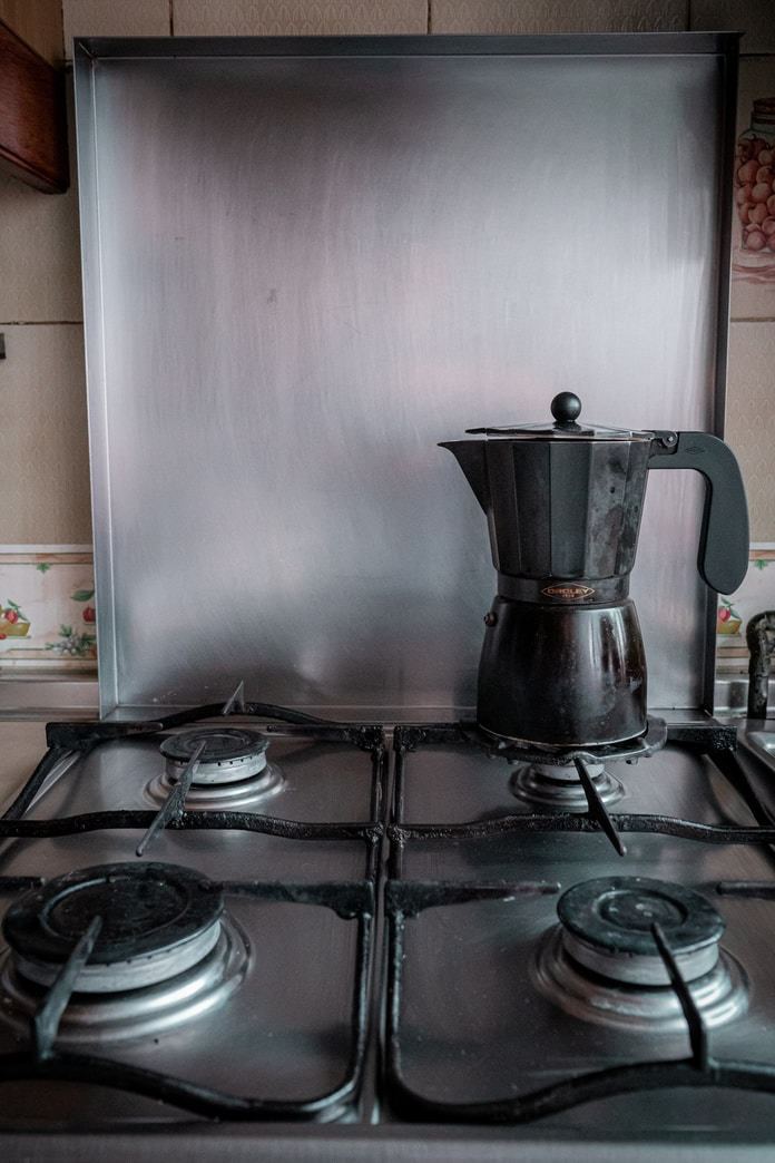 stainless steel kettle on stove
