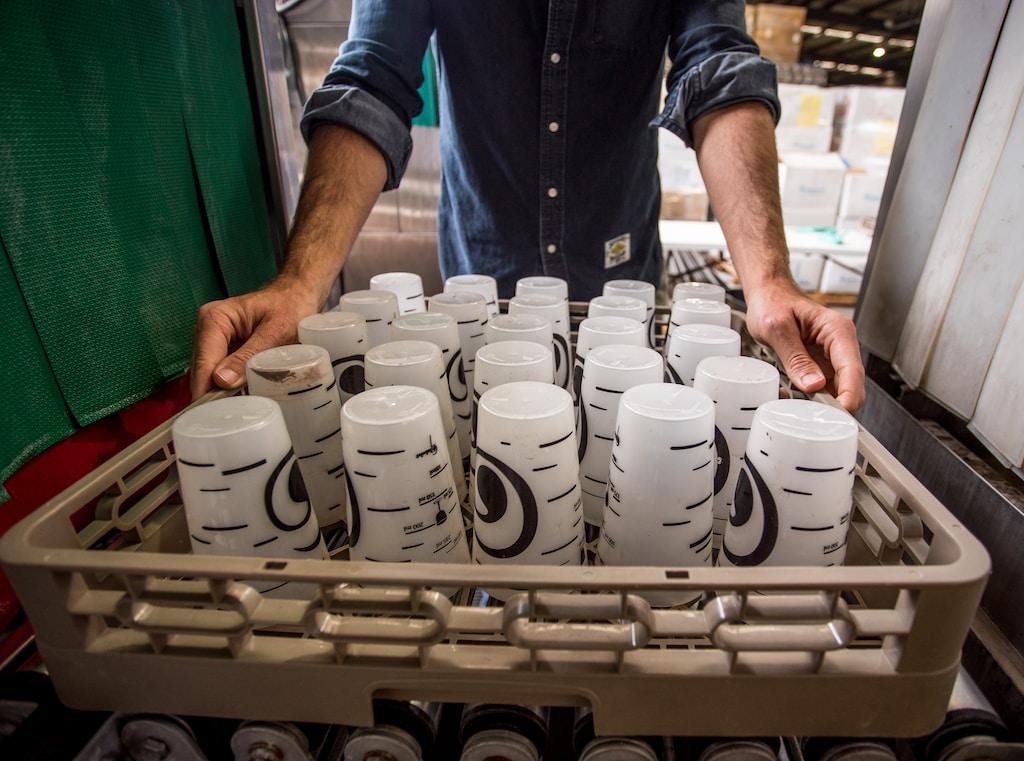white ceramic mugs on white tray