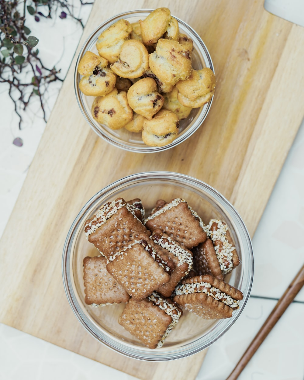 brown cookies on clear glass bowl
