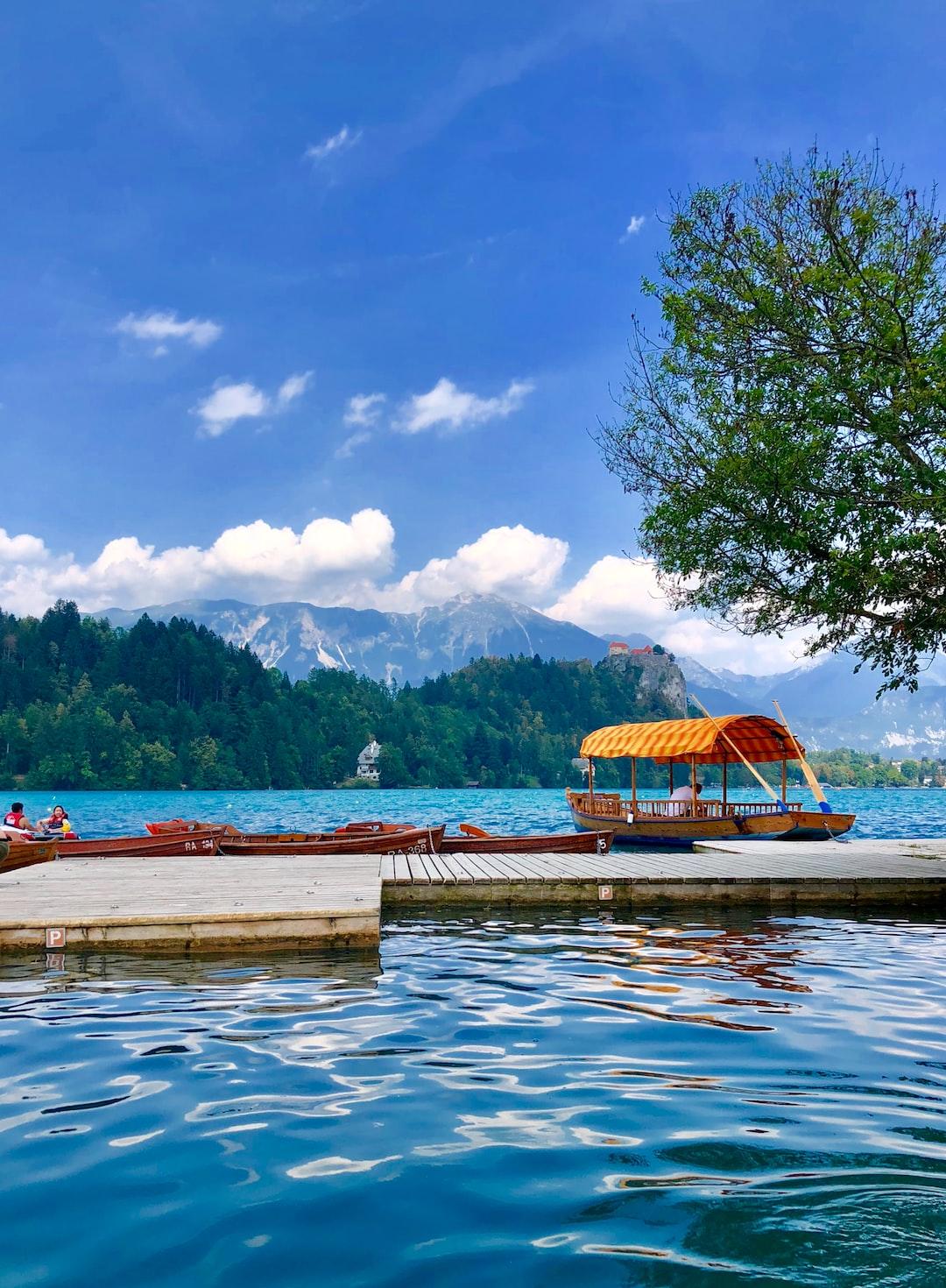 Boats at Lake Bled, Slovenia