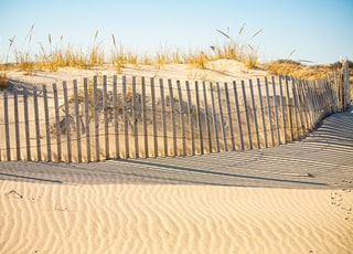 gray wooden fence on brown sand