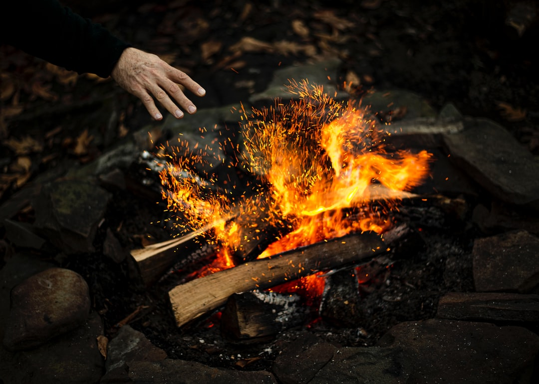 Throwing wood into the fire.