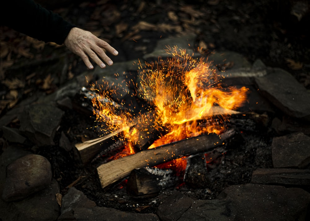 person holding burning wood during daytime
