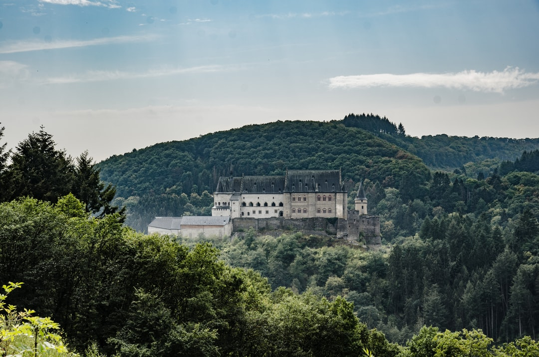 Vianden castle in Luxembourg. It is one of the largest fortified castles west of the Rhine. The castle was built in the Romanesque style from the 11th to 14th centuries.