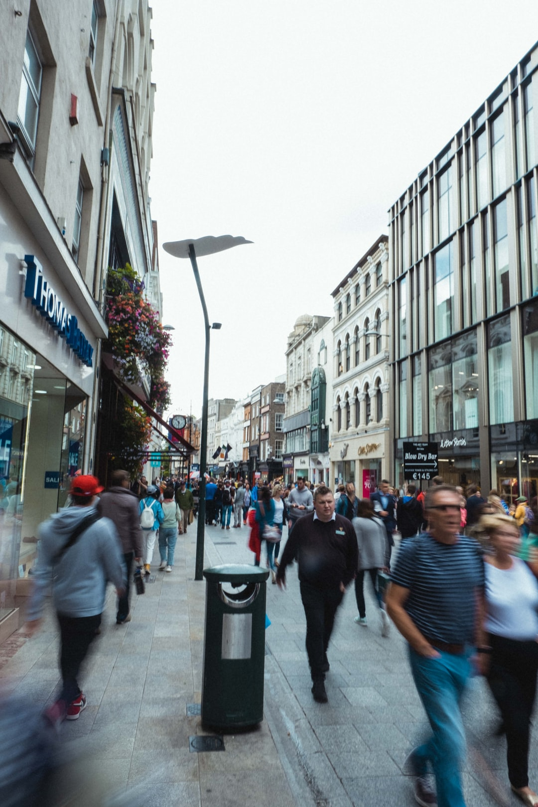 crowded street in Dublin, Ireland