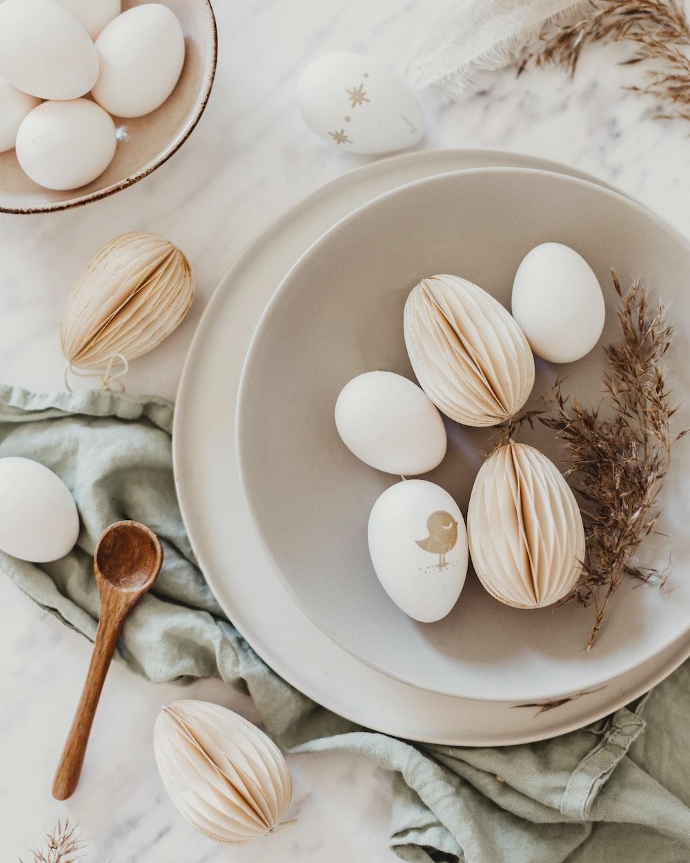 white egg shell on white ceramic plate