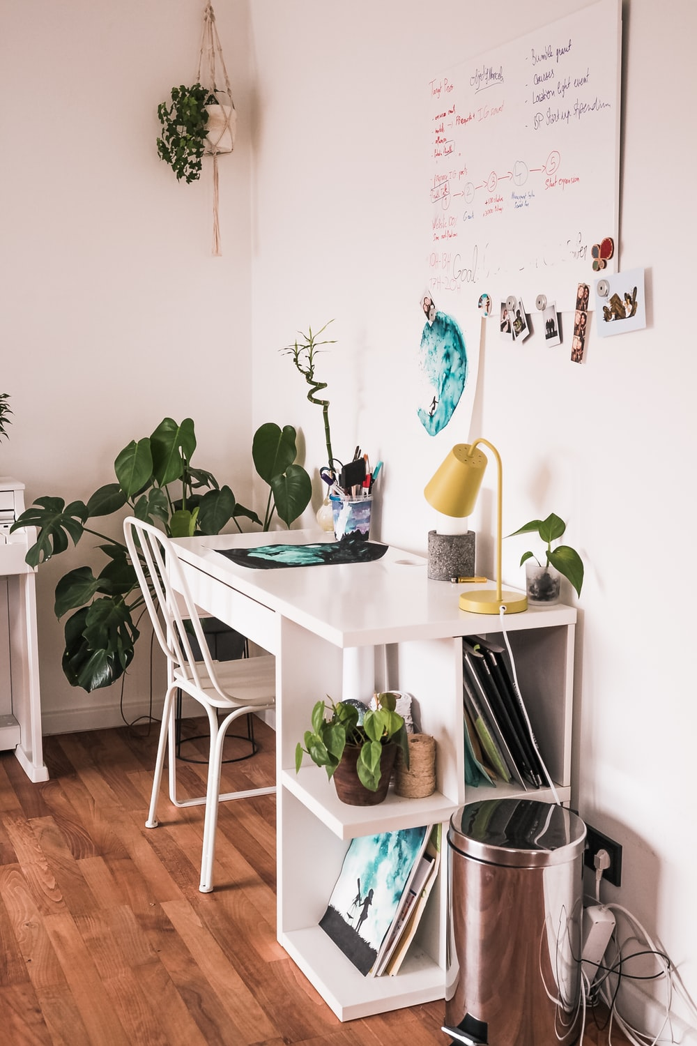 green plants on white wooden table