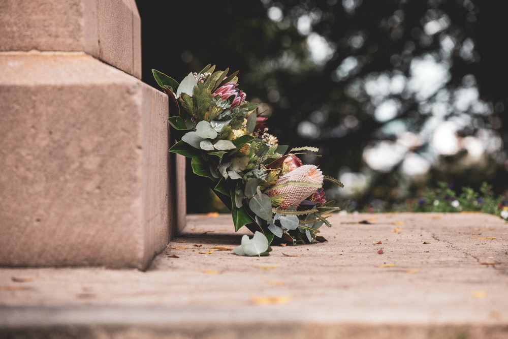 pink and green flower bouquet on brown concrete wall