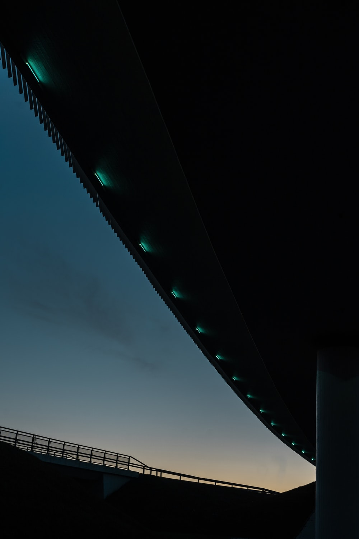 white light on a bridge