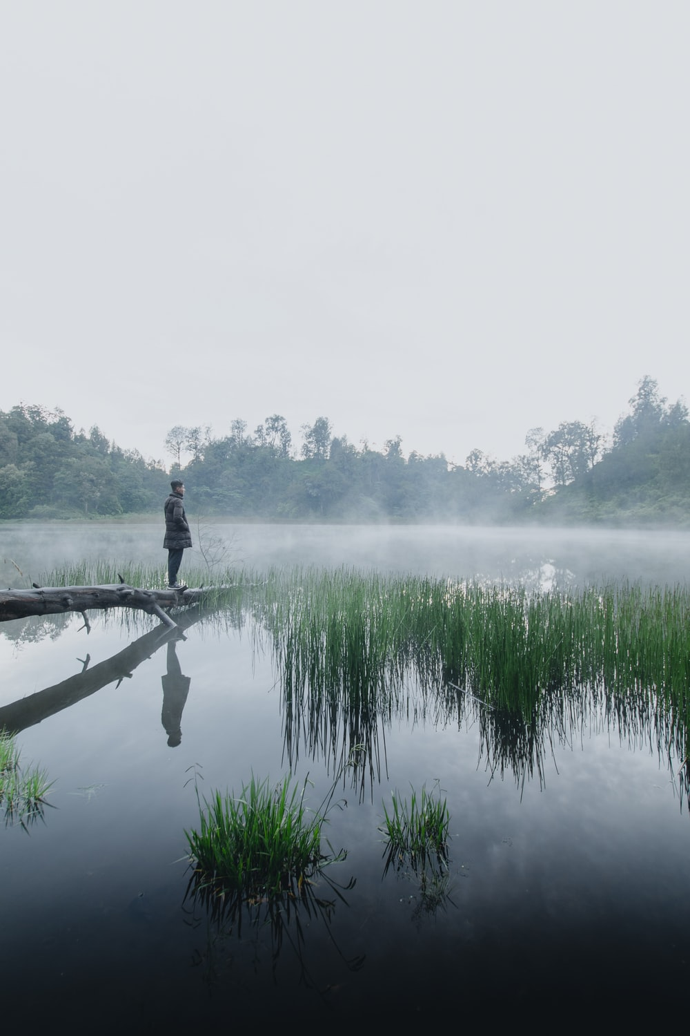 man in black jacket standing on brown wooden dock over body of water during foggy weather