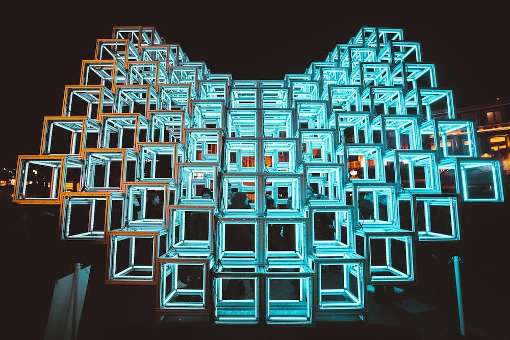 blue and white square illustration