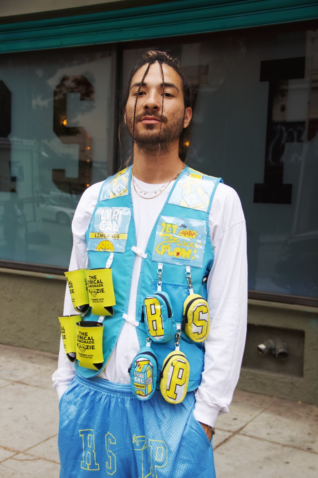 The World's first LYRICAL LEMONADE/RSVP GALLERY vest! Upcycled from 4 can koozies, a t-shirt, and lemonade cardboard packaging! This piece is absurd.