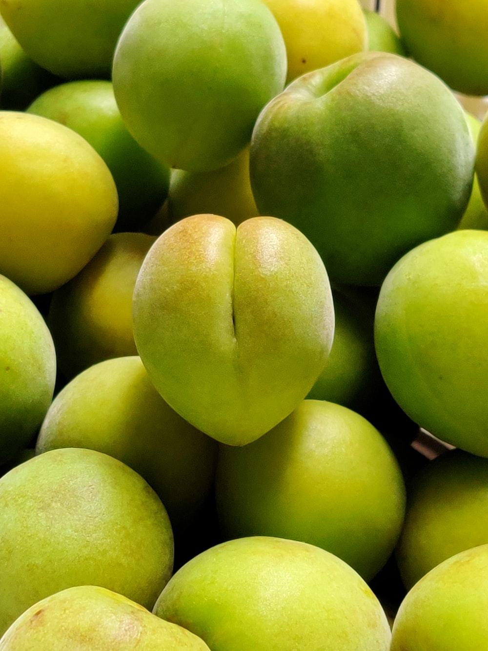 green apples on white ceramic plate