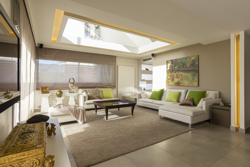 White Sofa And Brown Wooden