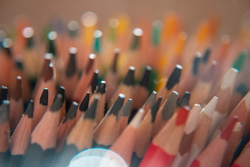 macro photography of coloring pencils